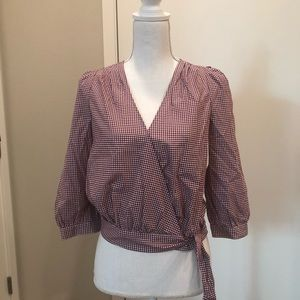 NWT Madewell gingham wrap around top XS